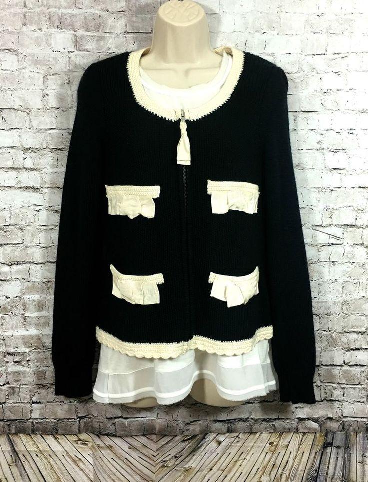 Anthropologie Sleeping on Snow Sz S Black Cream Bow Zip Wool Cardigan Sweater  #Anthropologie #Cardigan