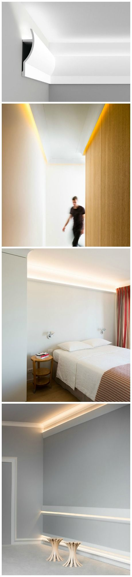 Install your very own cool atmospheric indirect lighting in any room using easy to install DIY Crown Molding and LED rope lighting.
