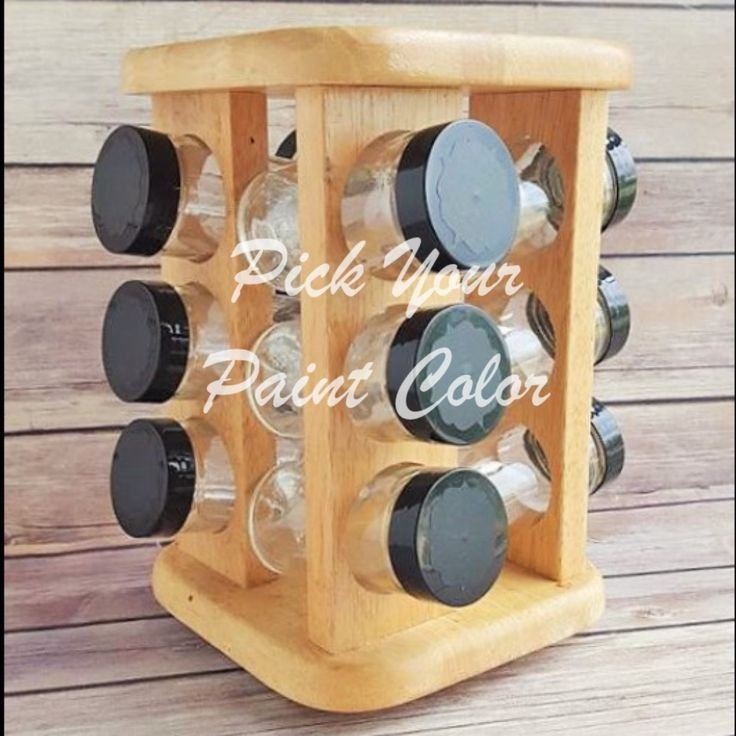 Spice Rack Wood With 12 New Glass Jars Chalkboard Labels Pick Your Paint  Color Vintage Beach