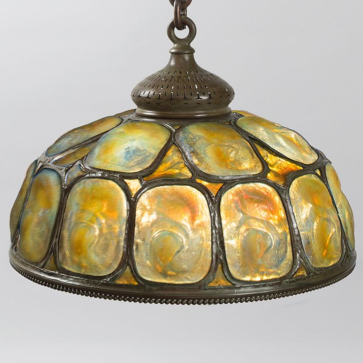 """Tiffany Chandeliers - Tiffany Gold and Yellow Opalescent """"Turtleback"""" Tile Chandelier - Macklowe Gallery"""