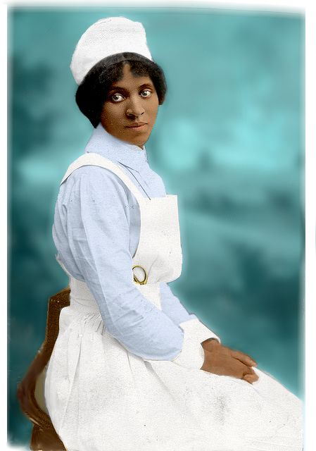 Susie King Taylor: first African American army nurse; the only African American woman to publish a memoir of her wartime experiences; also the first African American to teach openly in a school for former slaves in Georgia.  Coloried by D' Lynn