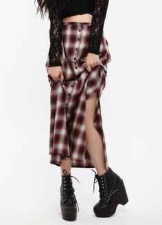 90s grunge in a long flannel skirt