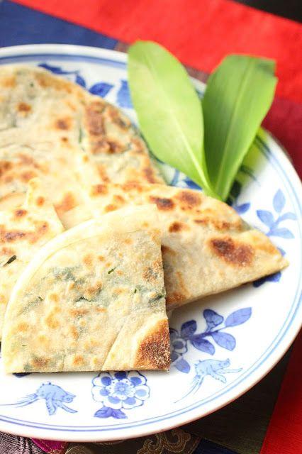Galette chinoise à l'ail des ours recette- Wild garlic chinese pancake   (Aussi avec ciboulette et/ou ciboulette chinoise, ciboule...)