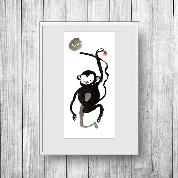 Monkey, Year of the Monkey zen painting, Chinese New Year, Zen Chinese Zodiac, japan scroll, red envelope, baby announcement, nursery art by ZenBrush