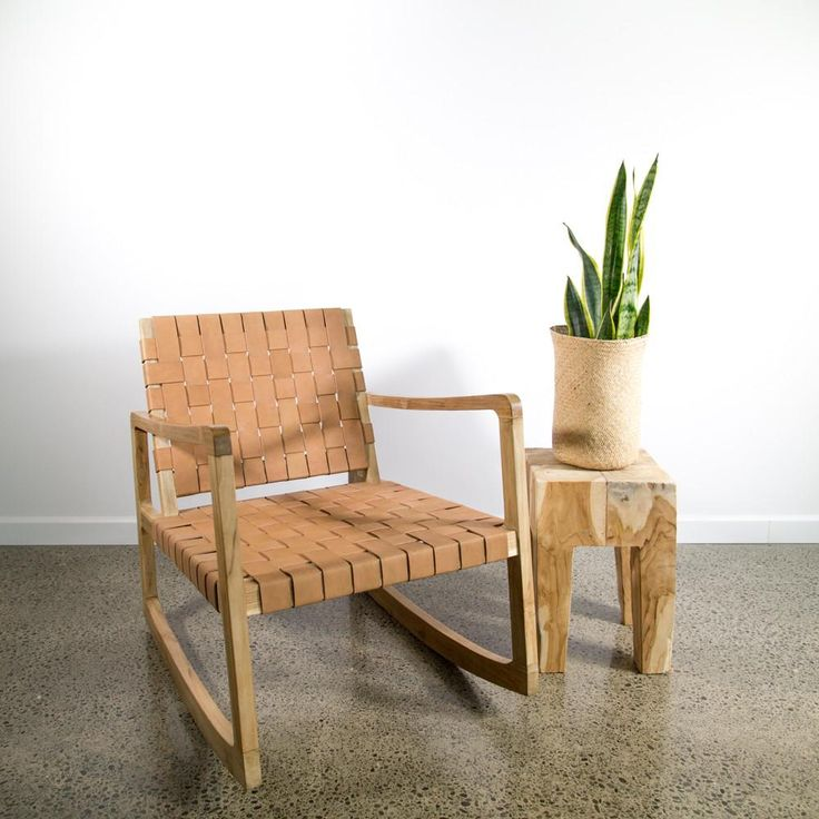 Tan Leather Weave Rocking Chair