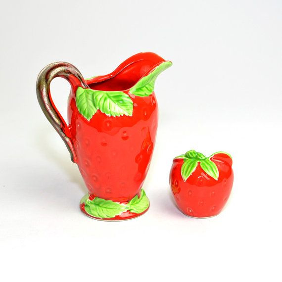 Elegant Strawberry Creamer Pitcher U0026 Mini Sugar Or Jam By OneRustyNail. Strawberry  KitchenCoffee AccessoriesStrawberriesKitschVintage ...