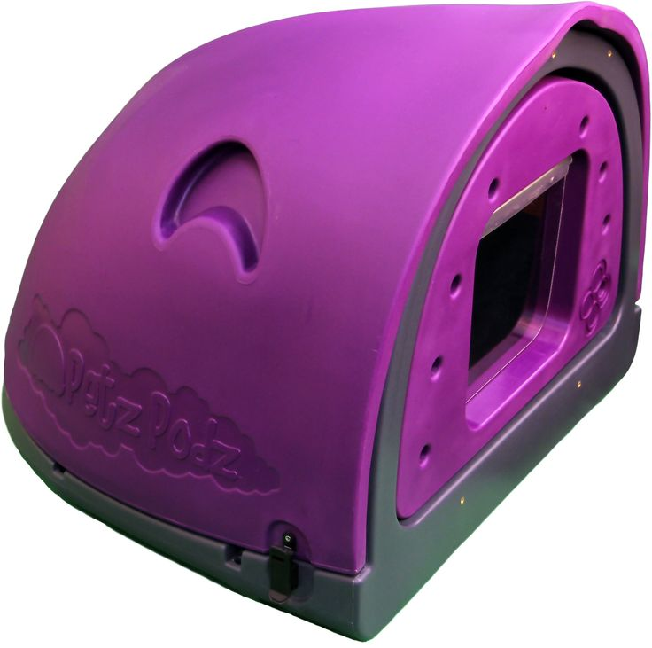 """Medium purple podz - PetzPodz are the worlds first replicated """"Den"""" environment for Dogs and Puppies, they mimic the natural shape that dog's would recognize when needing a safe area, it's dark, has a small entrance and the rear of the podz is curved just like the letter """"C"""". Squares and rectangles are not shapes for Dogs, they respond far better to curves and a PetzPodz will be a identified by your Dog as a calm and tranquil area which they can relax and sleep in on their owns terms…"""
