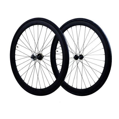 Fixie Wheels Set Fixed Gear Flip-Flop Rear Wheels 45mm with Kenda Tires 25C, Mat