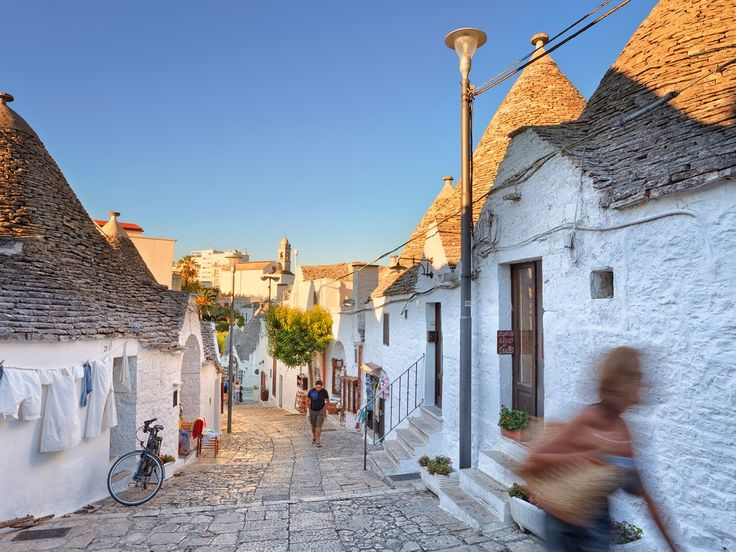 The main draw of Alberobello, a picturesque small town near Bari in Puglia, is its characteristic trulli: cone-shaped, white-tipped houses that look as if they've been perpetually dusted by snow. Thanks to this distinctive feature, the town was deemed so unique that it was made a UNESCO World Heritage site in 1996. For the best view over Alberobello and its trulli, head up to Piazza del Popolo, where the Belvedere Trulli lookout offers spectacular views of the entire town.