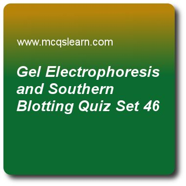 Gel Electrophoresis and Southern Blotting Quizzes:     MCAT Quiz 46 Questions and Answers - Practice gel electrophoresis and southern blotting quiz with answers. Practice MCQs to test knowledge on, gel electrophoresis and southern blotting, biogenetics and thermodynamics, atp synthase and chemiosmotic coupling, operon concept and jacob monod model, rna processing in eukaryotes, introns and exons quizzes. Online gel electrophoresis and southern blotting worksheets has study guide as..
