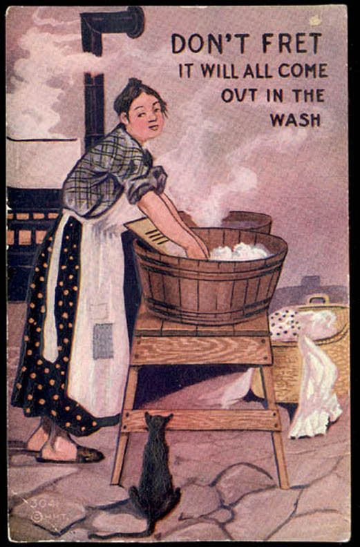 1910 IT WILL ALL COME OUT IN THE WASH COMIC TAMMEN OLD EMBOSSED POSTCARD PC7524