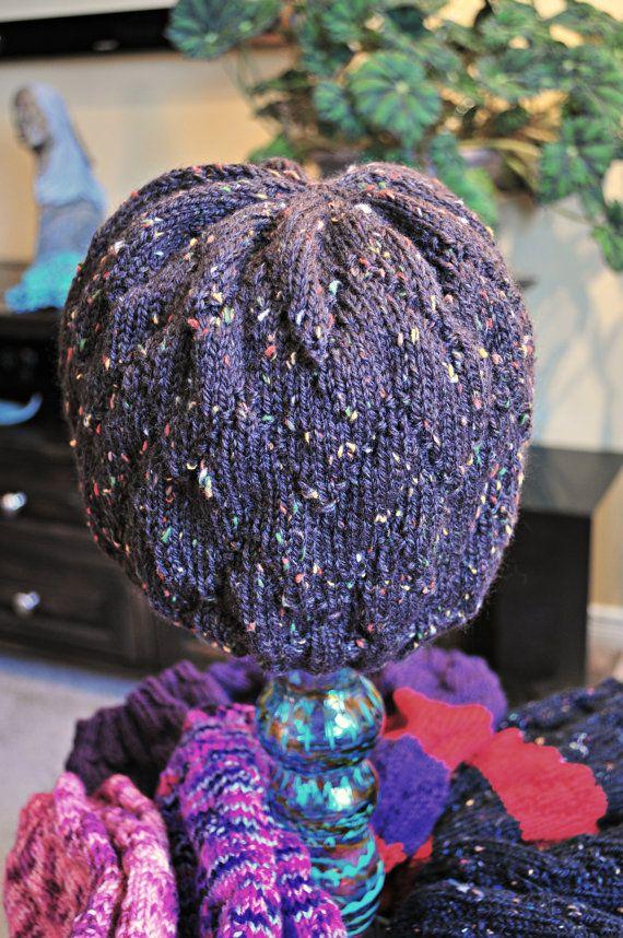 Hand-Knit Merino Wool Woman's Slouchy Hat  Brown Tweed