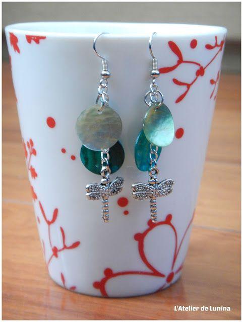 Boucle d'oreille nacre et libellule bijou - jewel dragonfly earring