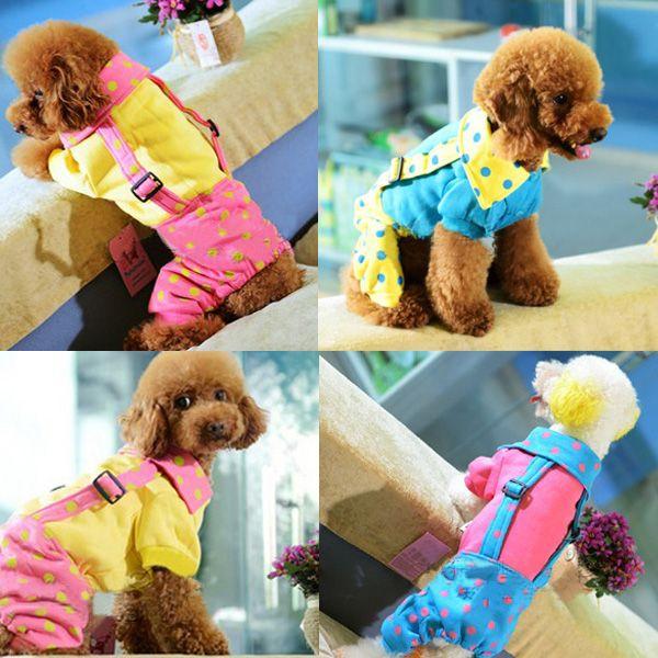 Cotton Fleece Funky Dots Lapel Dog Overalls Jumpsuit