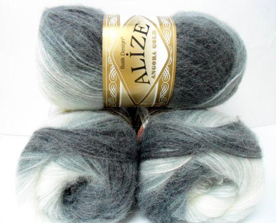 Ivory gray silver wool mohair acrylic  yarn  1 by Yarnshopping
