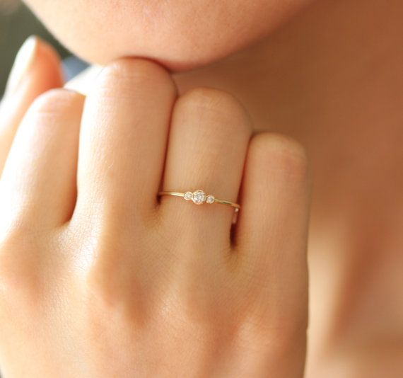 $380 Simple Gold Diamond Ring Three Stone Ring In 14k by KHIMJEWELRY