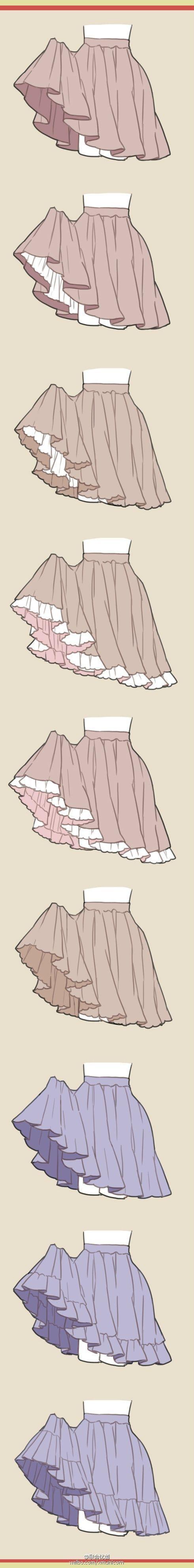 Diferentes poses de faldas: