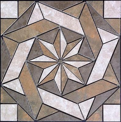 48inch NATURAL SLATE Travertine Tile Compass Rose MOSAIC MEDALLION ...