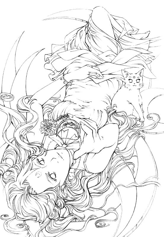 luna lineart free to color by nao rendeviantartcom on - Free Pictures To Color