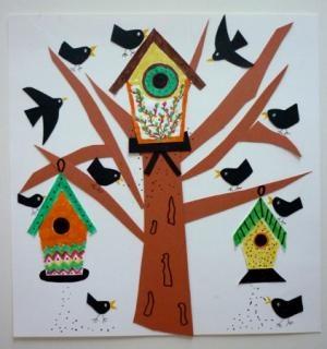 Mural arbre i orenetes