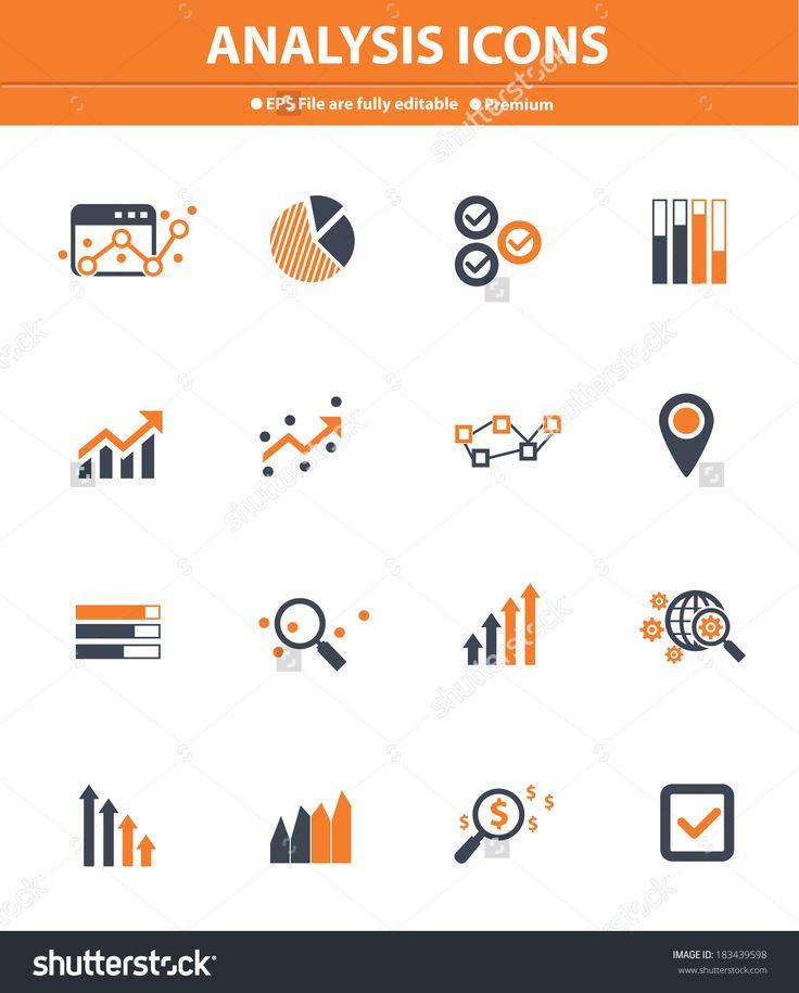 Analysis Icons On White Background,Orange Version Стоковая векторная иллюстрация 183439598 : Shutterstock
