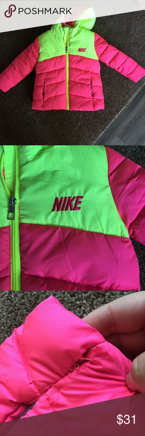 Toddler Girl Nike winter jacket 2T This was worn once! She hated it, so we never put it back on her. The stitching is coming apart on the bottom left under the pocket. I purchased it that way, but they wouldn't let me return it. Would be a super easy fix! Nike Jackets & Coats Puffers