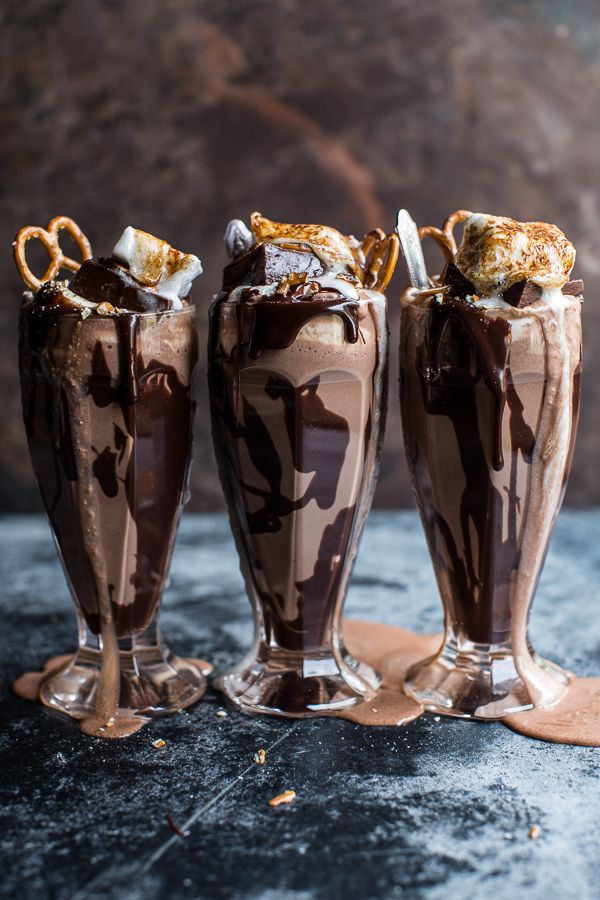 Salted Pretzel Nutella Fudge Milkshake with Malted Milk Whipped Cream for a delicious summer.