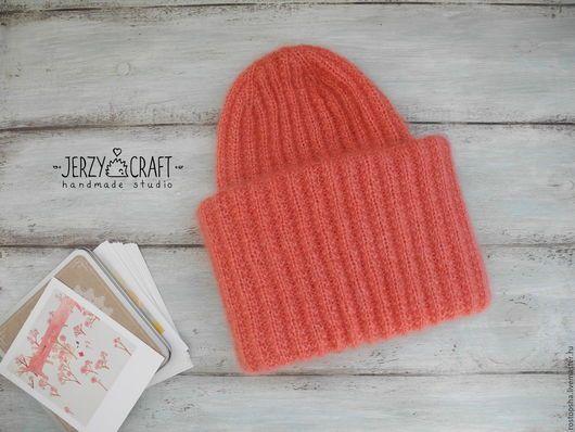Шапка вязаная спицами такори шапка вязанная шапка зимняя шапка теплая шапочка пух суперкидмохер шелк шапочка вязаная спицами шапочка с двойным отворотом  шапка мохер шелк шапка бини кидмохер