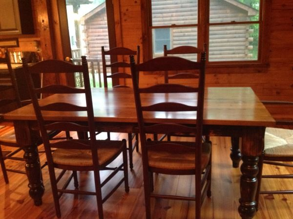 James L X W Jointed Baluster Table With A Vintage Early American Stained Tabletop And Kona Base Legs