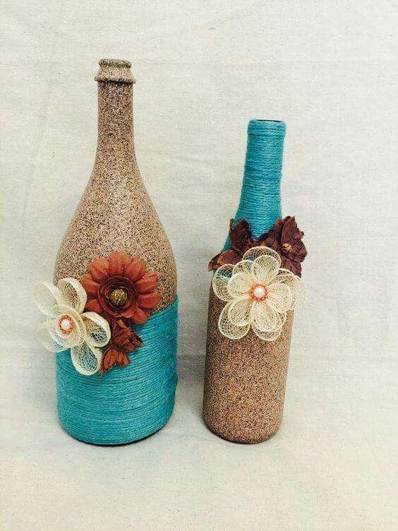 Reciclagem de garrafas, fica lindo enfeite decorativo.