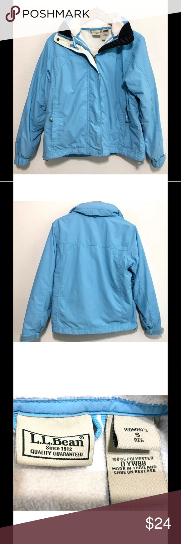 """LL Bean Women's Rain Jacket Beautiful Blue Size S Size: Small. Please check the following actual measurements to ensure a great fit: Armpit to armpit 21"""", armpit seam to sleeve end 22"""", collar bottom to bottom of jacket 24"""" L.L. Bean Jackets & Coats Utility Jackets"""