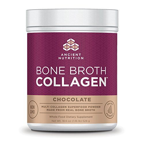 Ancient Nutrition Bone Broth Collagen Powder 30 Servings of All-Natural Protein Powder Loaded with Bone Broth Co-Factors 10g of Type I II and III Collagen Per Serving (Chocolate)