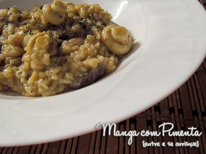 Risoto de Carne e Champignon, para as mamães italianas. Para ver a receita, clique na imagem para ir ao Manga com Pimenta.