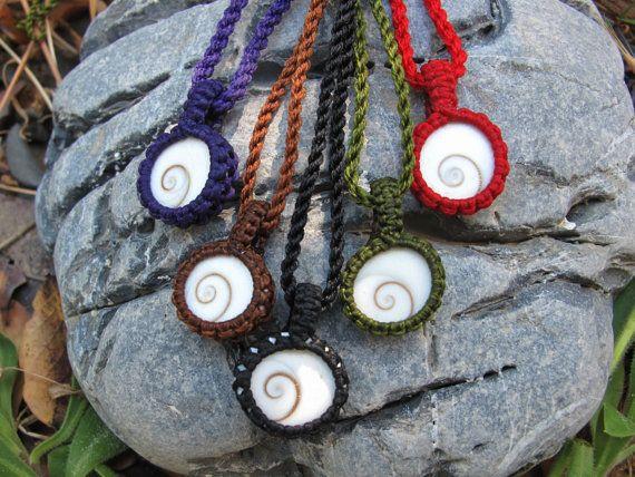 Shiva eye shell macrame pendant