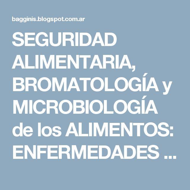 SEGURIDAD ALIMENTARIA, BROMATOLOGÍA y MICROBIOLOGÍA de los ALIMENTOS: ENFERMEDADES TRANSMITIDAS por los ALIMENTOS - Revisión  (Parte 24)