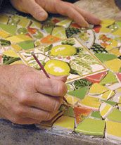 How to use porcelain pieces to adhere as mosaic to objects (pots, etc.)