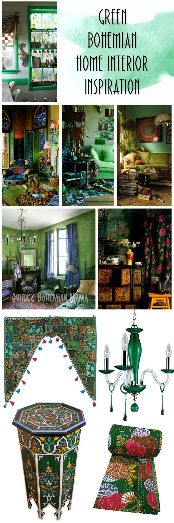 Green Bohemian Home Interior Inspiration {Bohemian/boho St Patrick's Day}