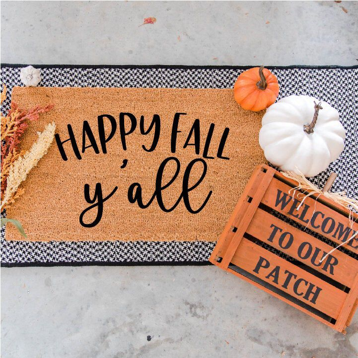 Happy Fall Y'all Doormat Fall Doormat Fall Decor | Etsy ...