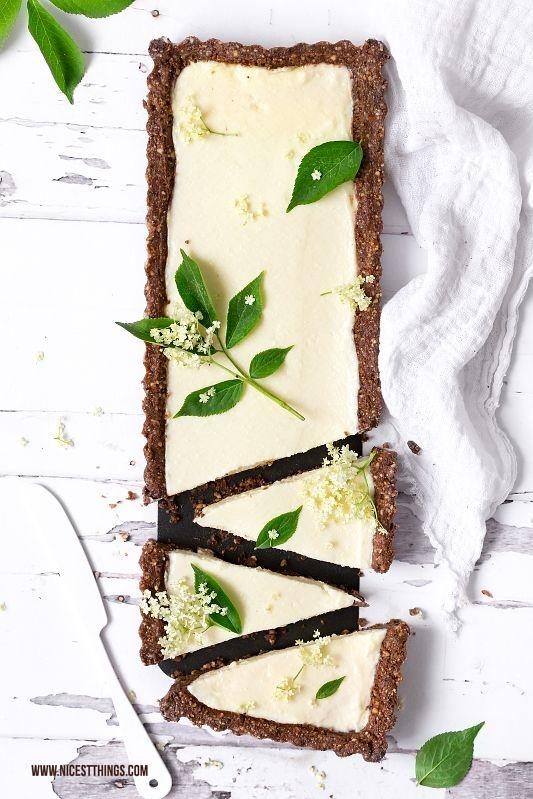 Holunderblüten Tarte Rezept mit weisser Schokolade