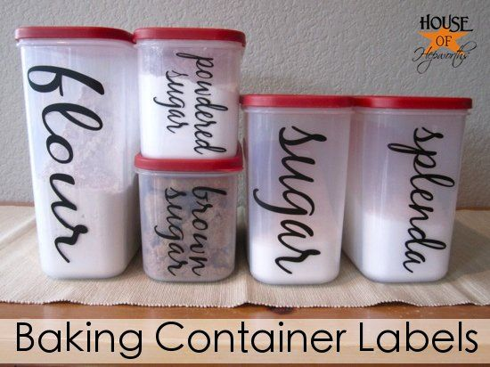 Vinyl labeled baking containers @ House of Hepworths