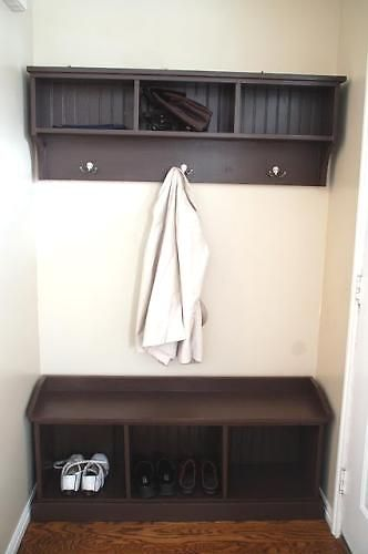 The shelf would be great for our tiny entry way.  I need to have hooks for the kids' jackets and backpacks.