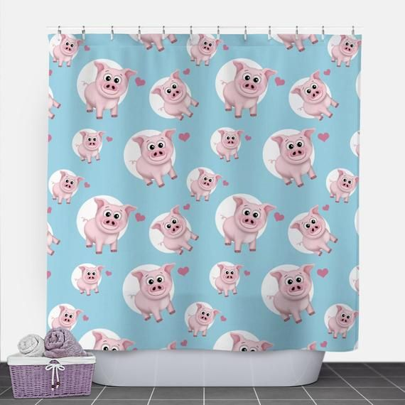 Pig Heart Pattern Shower Curtain Pink And Blue Happy Pig Pattern