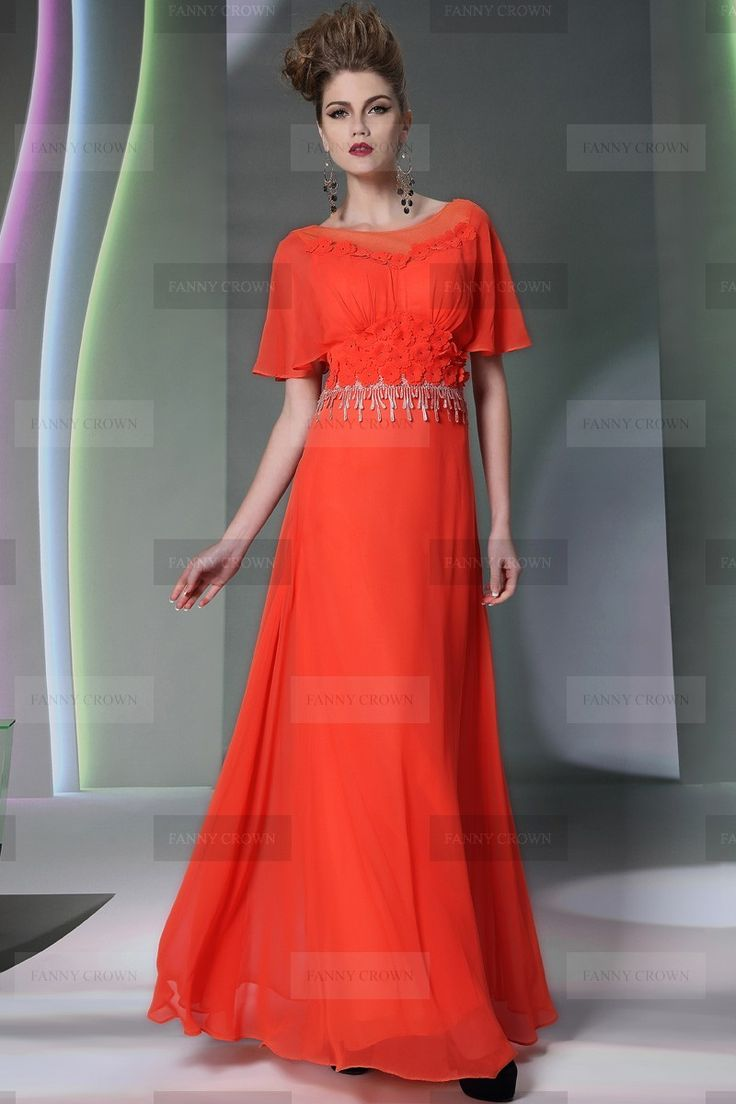 Beautiful Bateau Long Orange Evening Dress | Fanny Crown