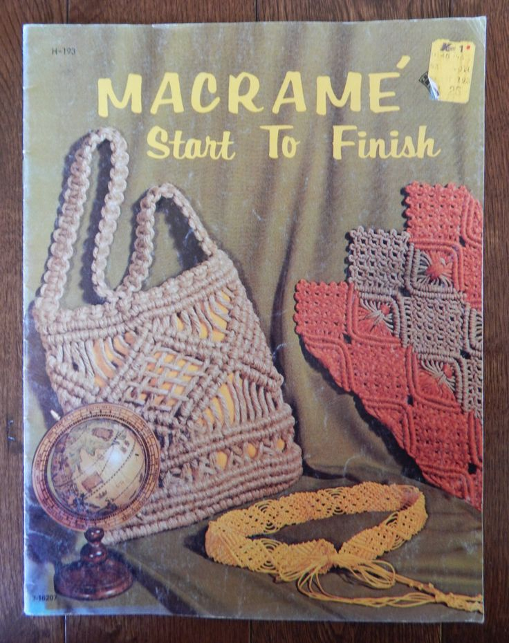 Macrame Pattern Book/ Macrame Start To Finish/ 16 Projects/ necklace, bracelet, collars, purses, handbag, belt, pillow, placemat by RedWickerBasket on Etsy