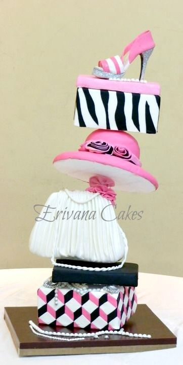 Topsy Turvy Ladies jewellery box, bag, hat, shoe box and shoe Cake