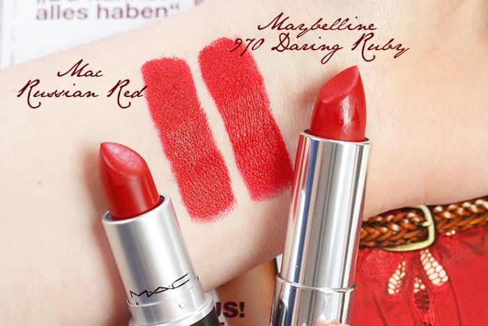 Mac Lipstick Dupe: MAC Russian Red vs. Maybelline 970 Daring Ruby, Swatches
