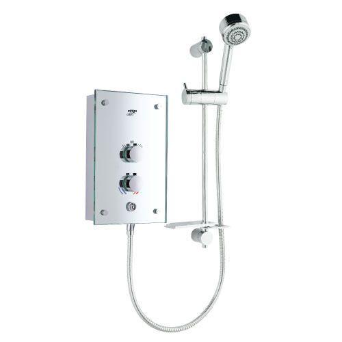 Alero 9.8kw mirrored electric shower