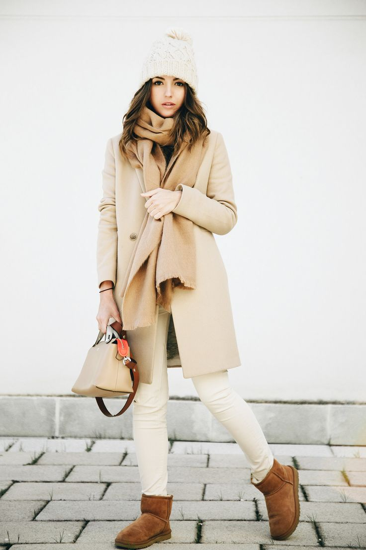 1 COAT 3 OUTFITS - Lovely Pepa by Alexandra. Black sweater+white skinny pants+brown UGG boots+camel coat+beige scarf+beige handbag+white pom-pom knit beanie. Winter Casual Outfit 2017