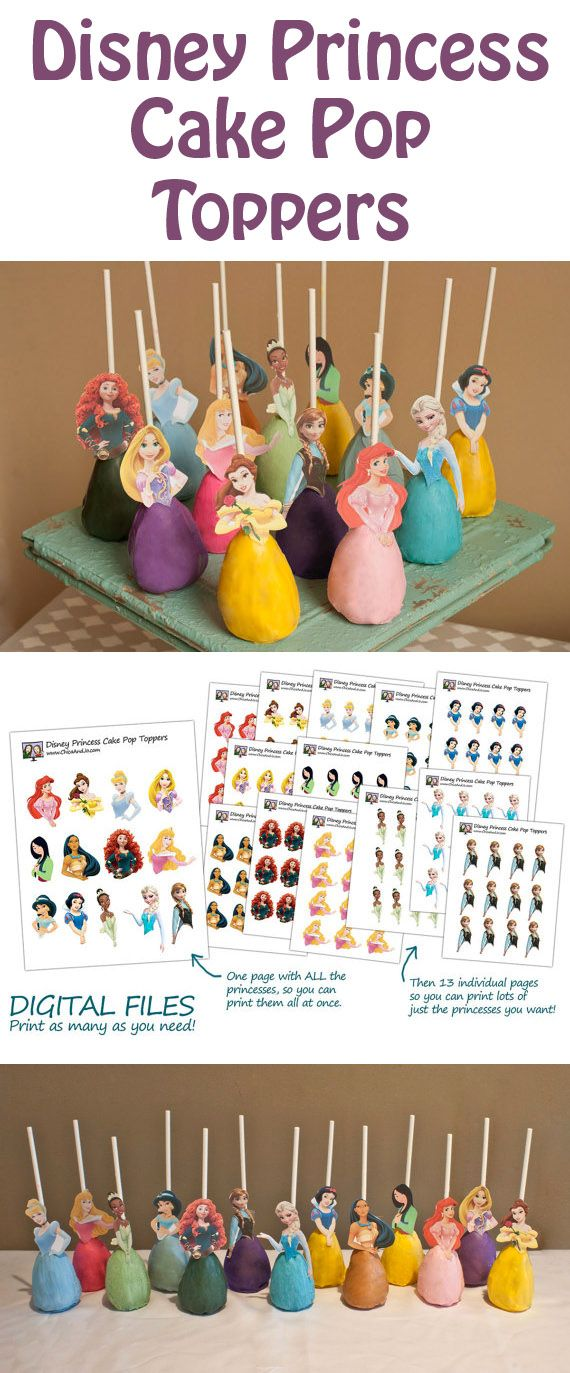 Create your own Disney Princess cake pops with a printable of your favorite characters: Elsa and Anna from Frozen, Merida, Rapunzel, Belle, Sleeping Beauty, Cinderella, Pocanhonta, Tiana, Mulan, Jasmine, Ariel, Elena of Avalor and Snow White.