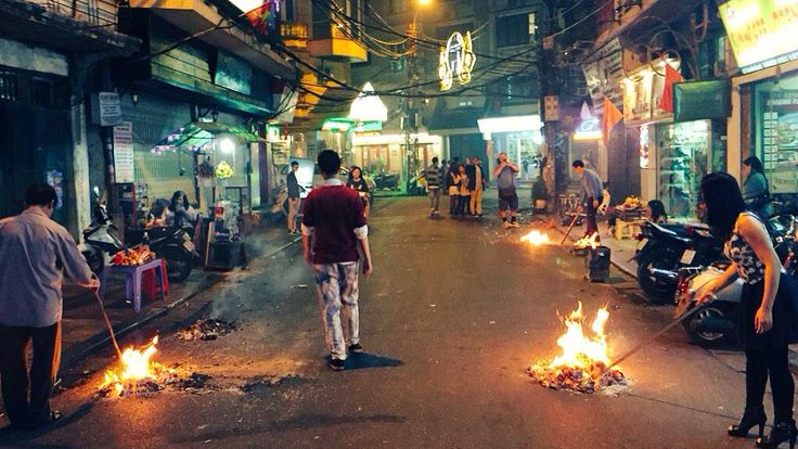 Burning fire after New Year's Eve..#Vietnam